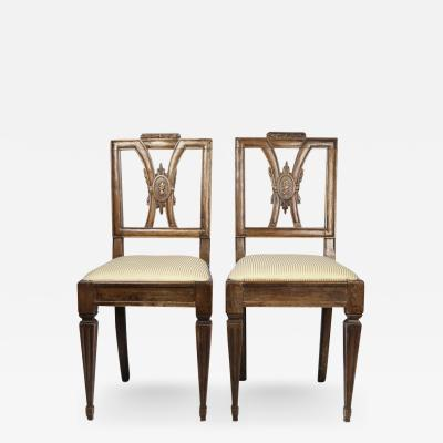 Pair of Italian Neoclassical Walnut Side Chairs