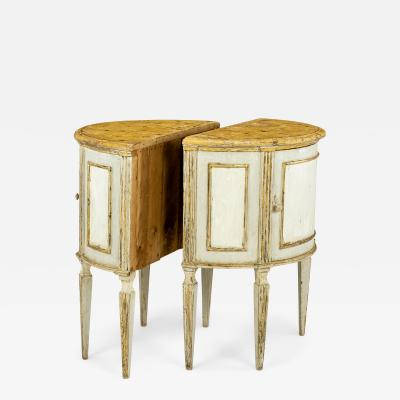 Pair of Italian Painted Demilune Console Tables