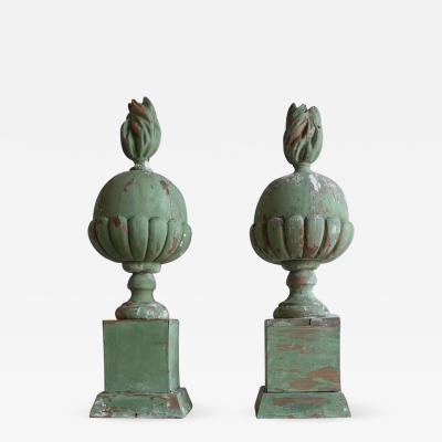 Pair of Italian Painted Flamed Finials