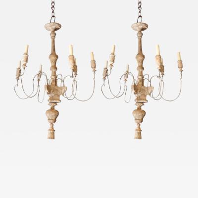 Pair of Italian Painted Wood and Metal Chandeliers