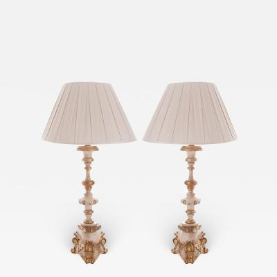Pair of Italian Painted and Gilded Lamps