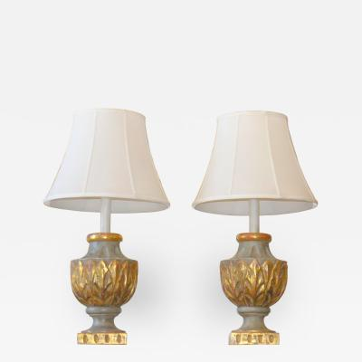 Pair of Italian Painted and Parcel Giltwood Lamps