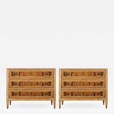 Pair of Italian Reproduction Three Drawer Commodes