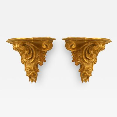 Pair of Italian Rococo Gilt Wall Shelves