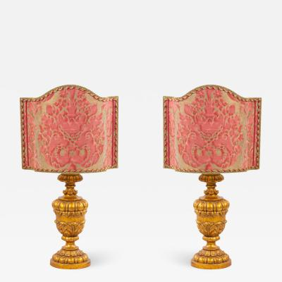 Pair of Italian Rococo Style Gilt Table Lamps