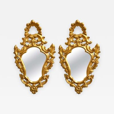 Pair of Italian Rococo Wall Mirrors Giltwood Carved