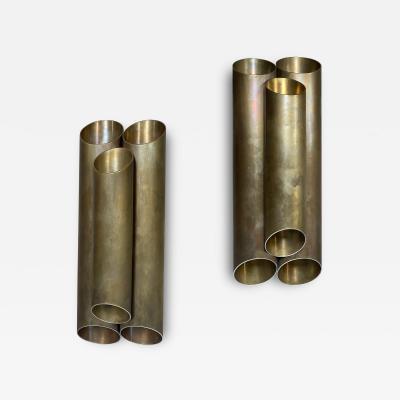Pair of Italian Sconces Tubolari Full Brass 1940s