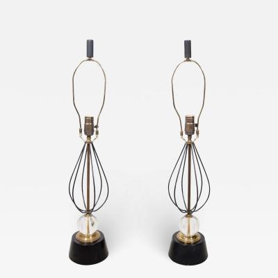 Pair of Italian Table Lamps With Crystal and Gold Accents