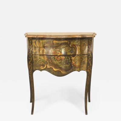 Pair of Italian Venetian Floral Painted Commodes