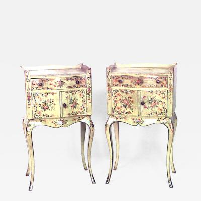 Pair of Italian Venetian Style Floral Decorated Bedside Tables