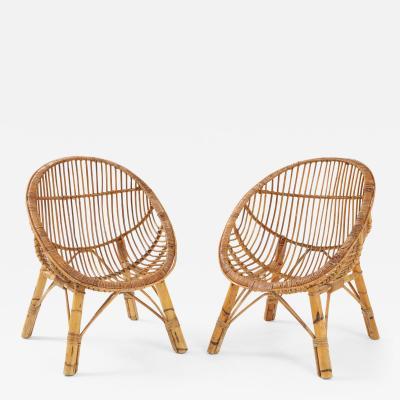 Pair of Italian Vintage Bamboo Scoop Chairs