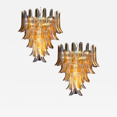 Pair of Italian Vintage Murano Chandelier with Amber Glass Petals 1970s