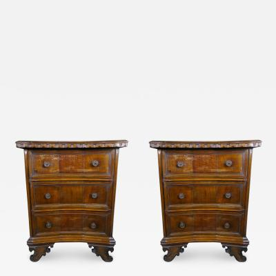 Pair of Italian Walnut Chest of Drawers