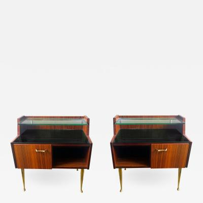 Pair of Italian bedside rosewood brass cabinets Mid Century Modern