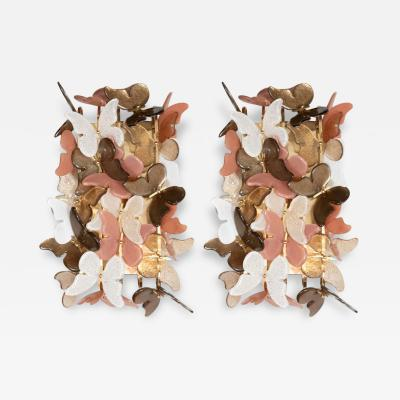 Pair of Ivory Coral and Bronze Murano Glass Butterfly Sconces Italy 2019