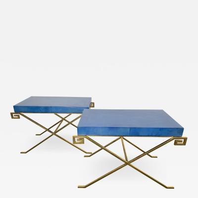 Pair of JMF Greek Key Tables w Lapis Goatskin Tops Karl Springer Ltd