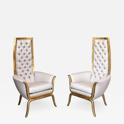 Pair of James Mont Style High Back Armchairs with 22 Karat Gold Finish
