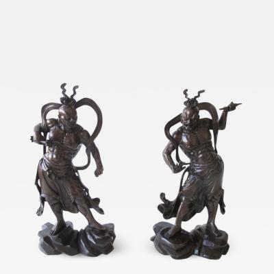 Pair of Japanese Bronze Nio Guardians