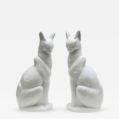 Pair of Japanese Glazed Ceramic Cats
