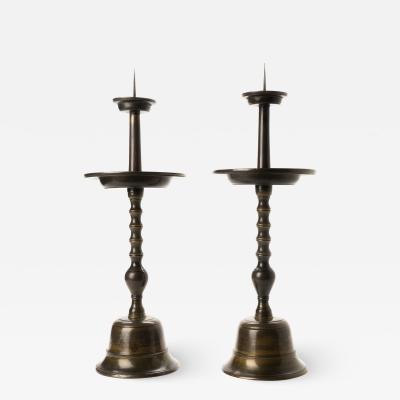 Pair of Japanese cast bronze altar sticks
