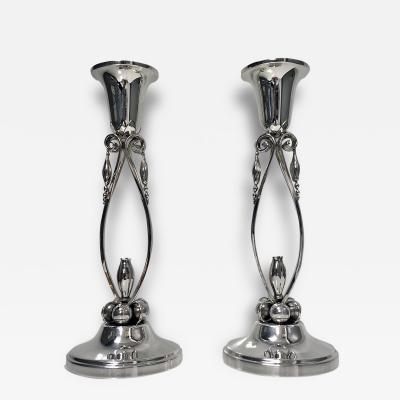 Pair of Jensen Style Sterling Silver Candlesticks 20th Century