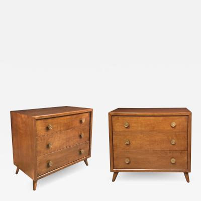 Pair of John Stuart Mid Century 3 Drawer Bachelor Chests Bedside Cabinets