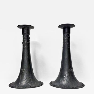 Pair of Kayserzinn Pewter Candlesticks Germany C 1900