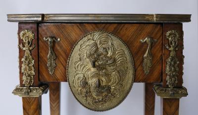 Pair of Kingwood bronze dor marble mounted side Louis XVI tables