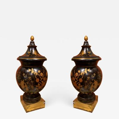 Pair of Lacquer Wood Vases