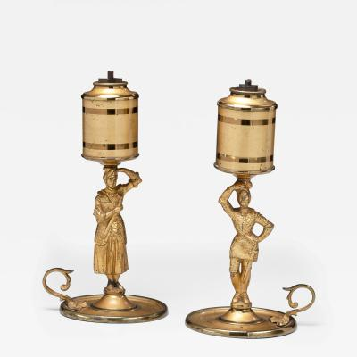 Pair of Lacquered Brass Figural Lard Lamps