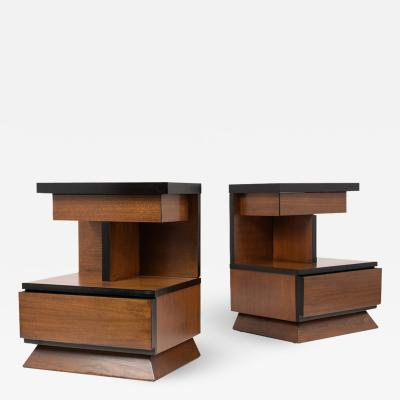 Pair of Lacquered Mid Century Modern Style Nightstands