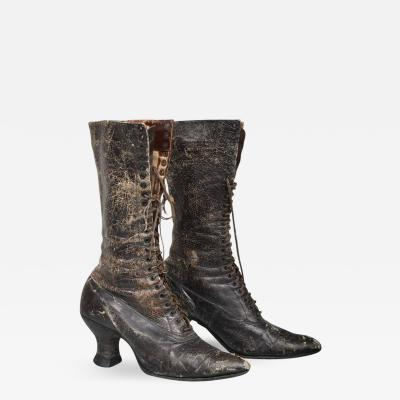 Pair of Ladies Victorian High Top Leather Boots