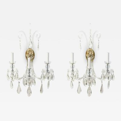Pair of Lafount Style Crystal Sconces