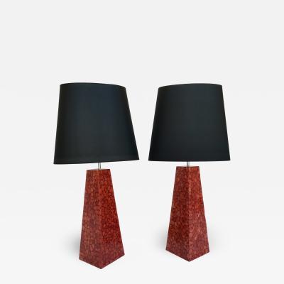 Pair of Lamps Pyramidal Coral Veneer Italy 1980s