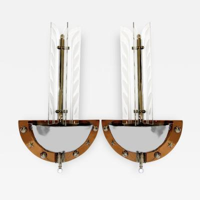 Pair of Large 1930s American Art Deco Theater Wall Sconces w Etched Glass