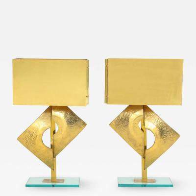 Pair of Large All Brass Sculptural Lamps with Brass Lampshades Italy