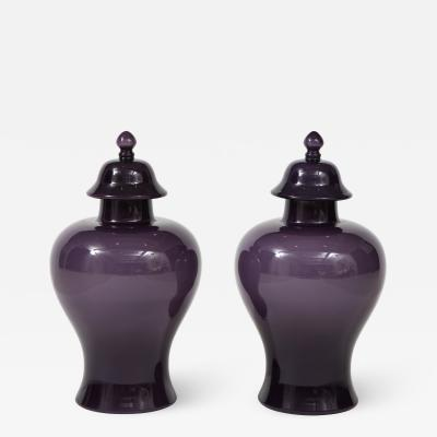 Pair of Large Aubergine Glass Lidded Ginger Jars