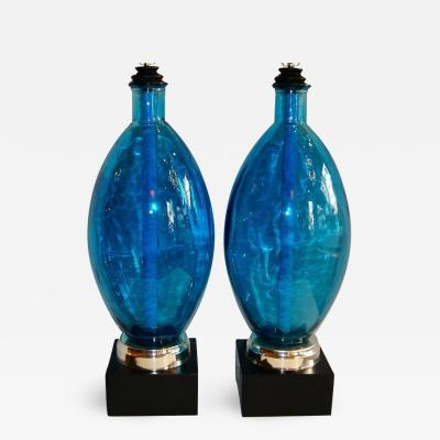 Pair of Large Blue Glass Lamps