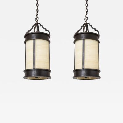 Pair of Large Bronzed Iron and Alabaster Lanterns