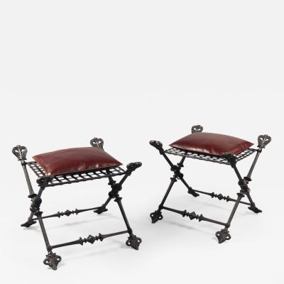 Pair of Large Campaign Style Stools France circa 1880