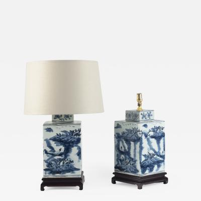 Pair of Large Chinese Blue and White Rectangular Lamps