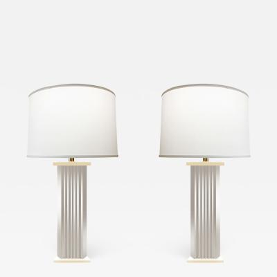 Pair of Large Chrome Skyscraper Table Lamps 1970s
