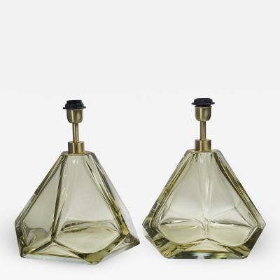 Pair of Large Diamond Faceted Citrine Glass Lamps contemporary and signed