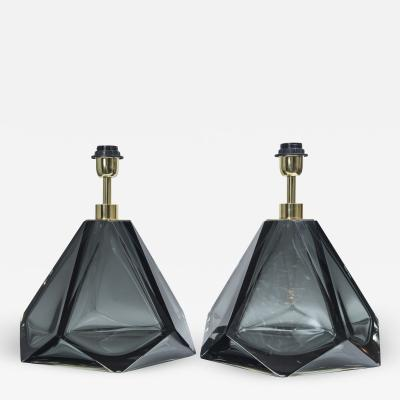 Pair of Large Diamond Faceted Grey Glass Lamps contemporary and signed
