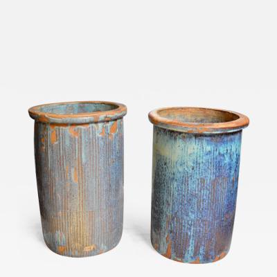 Pair of Large Drip Glaze Ceramic Pots
