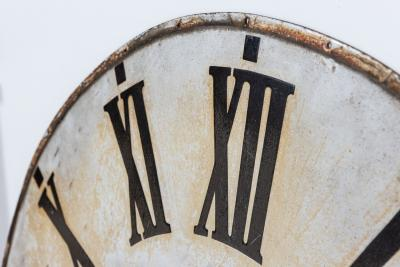 Pair of Large French Enamel Clocktower Faces