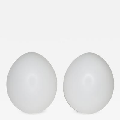 Pair of Large Glass Egg Shaped Table Lamps