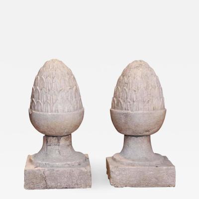 Pair of Large Glazed Terracotta Garden Finials