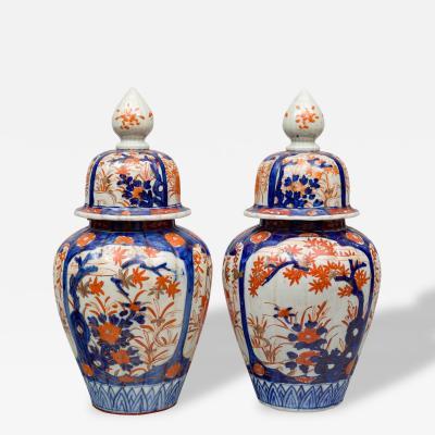 Pair of Large Imari Vases with Lids
