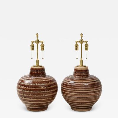 Pair of Large Italian Ceramic Lamps